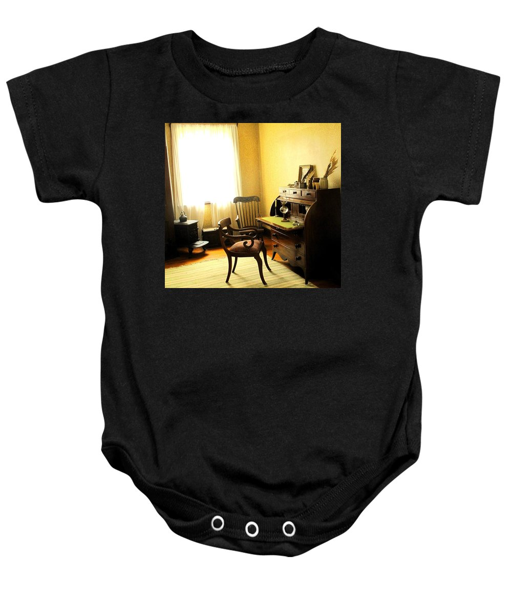 Antique Baby Onesie featuring the photograph I Will Be Right Back by Ian MacDonald