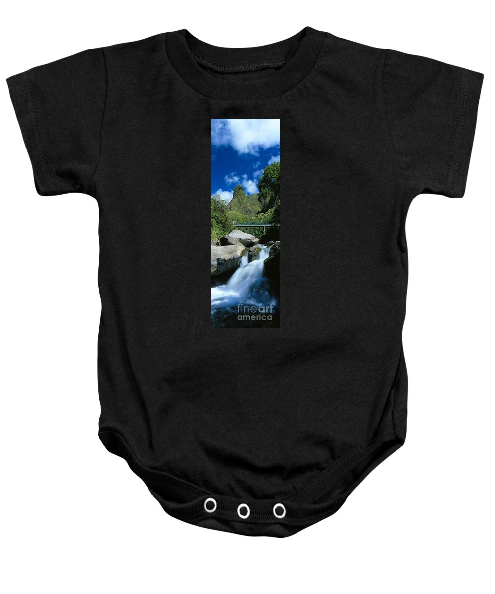 Blue Baby Onesie featuring the photograph Iao Needle And Creek by Carl Shaneff - Printscapes