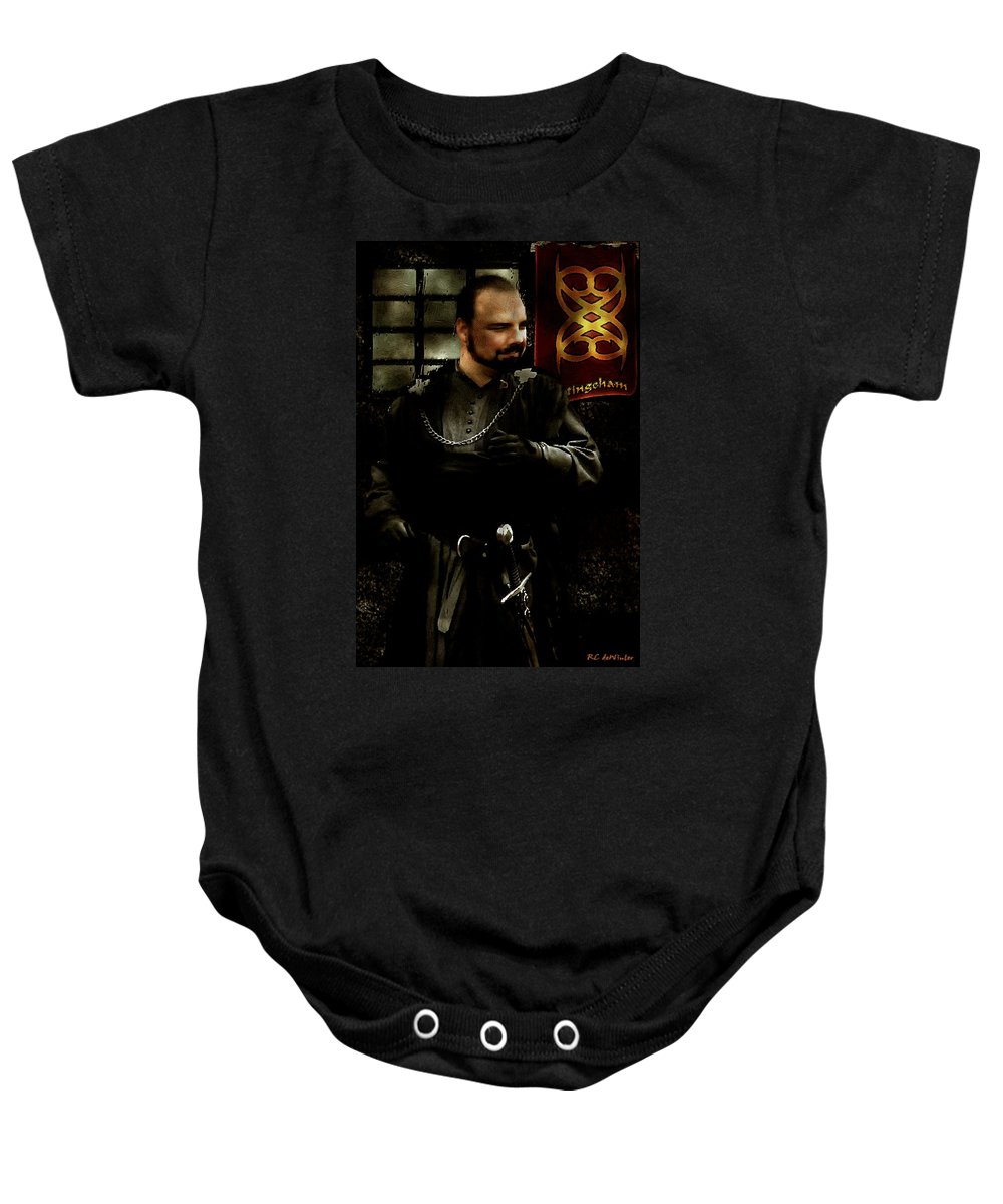 Britain Baby Onesie featuring the painting 'ic Cunnan Laeccan Yis Vilein Robyn Hode' by RC DeWinter
