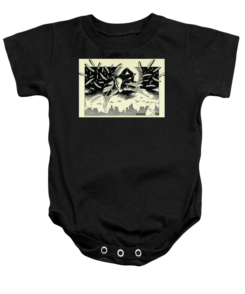 Icarus Baby Onesie featuring the drawing Icarus by Lance Miyamoto