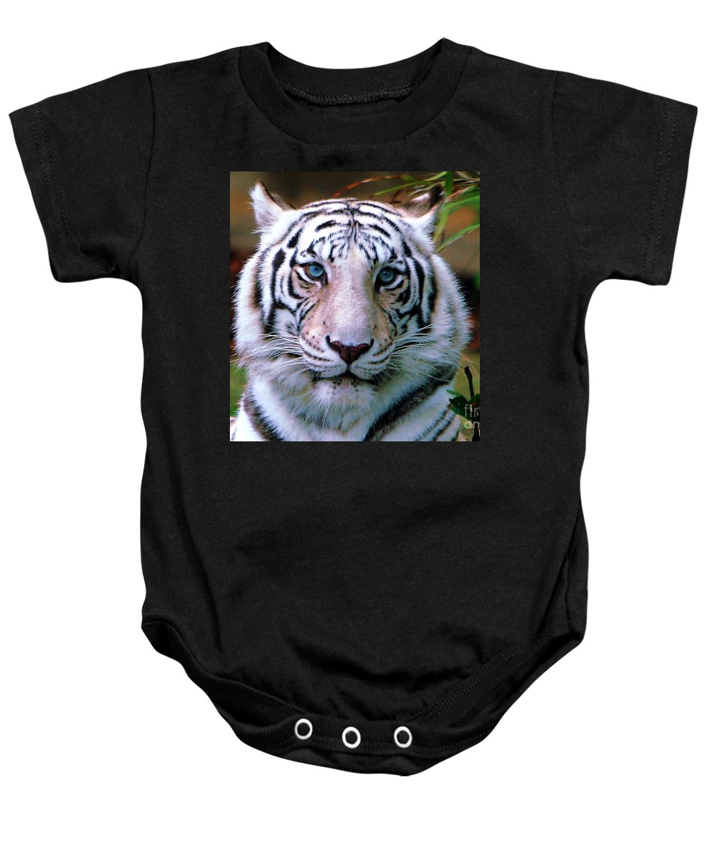 Tiger Baby Onesie featuring the photograph Ice Blue Eyes Of The Tiger by Randy Matthews