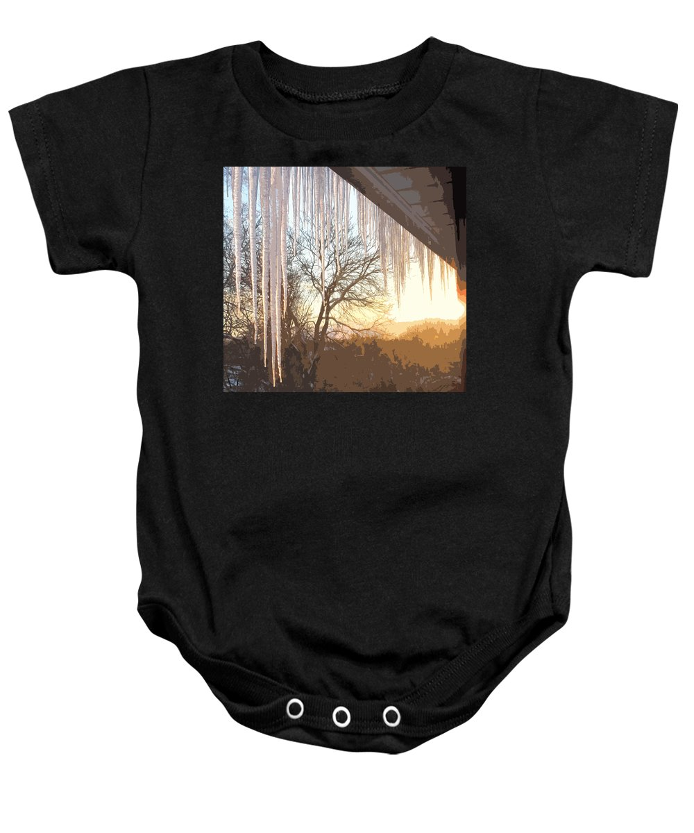 Icicles Baby Onesie featuring the photograph Icicles One by Ian MacDonald
