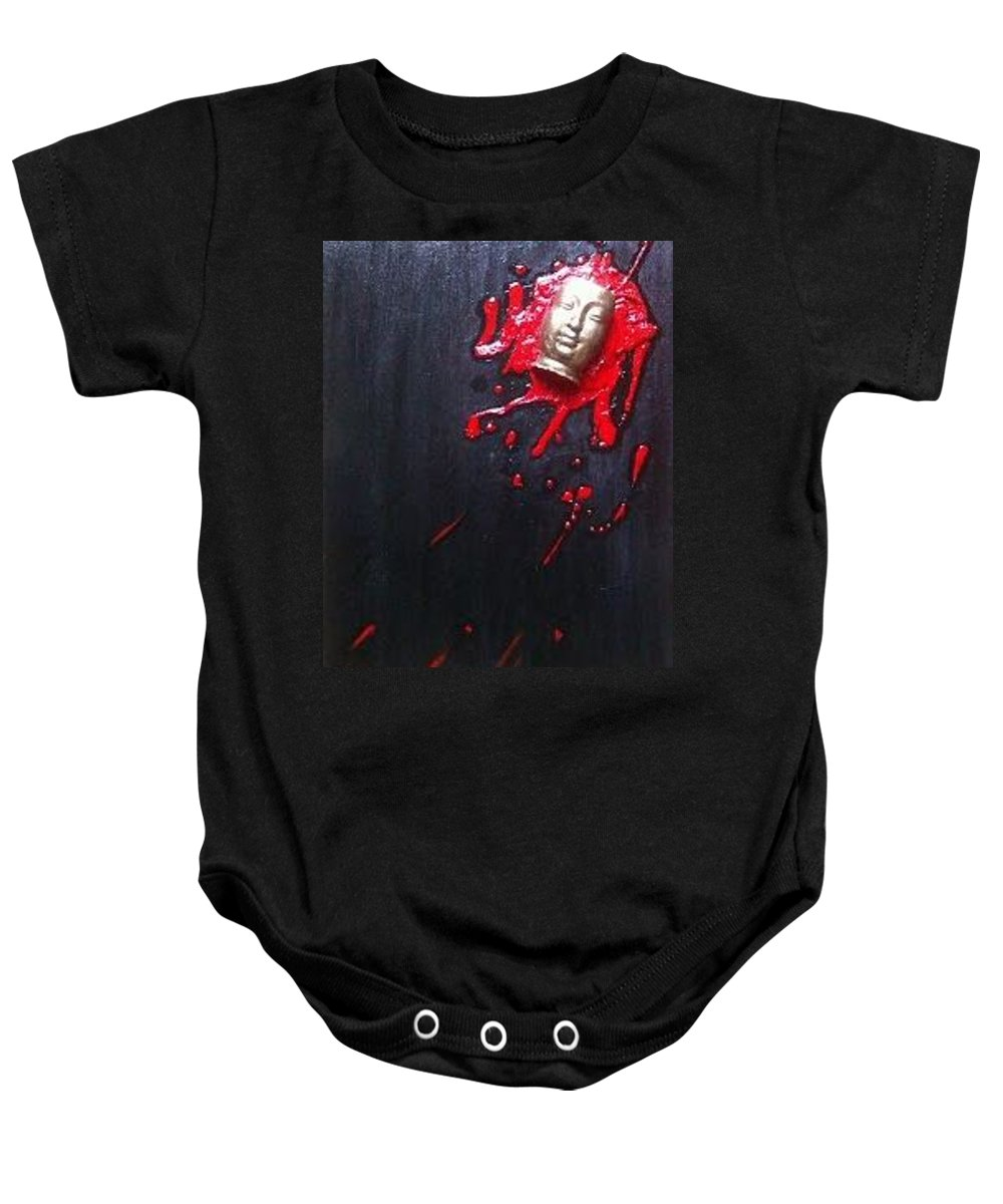 Zen Baby Onesie featuring the painting If You See Buddha Kill Him by Olivia Magdelene