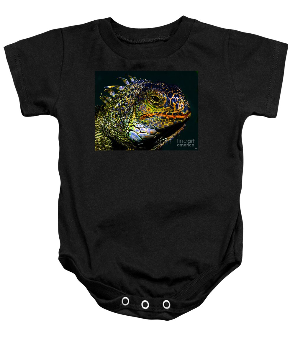 Art Baby Onesie featuring the painting Iguana by David Lee Thompson