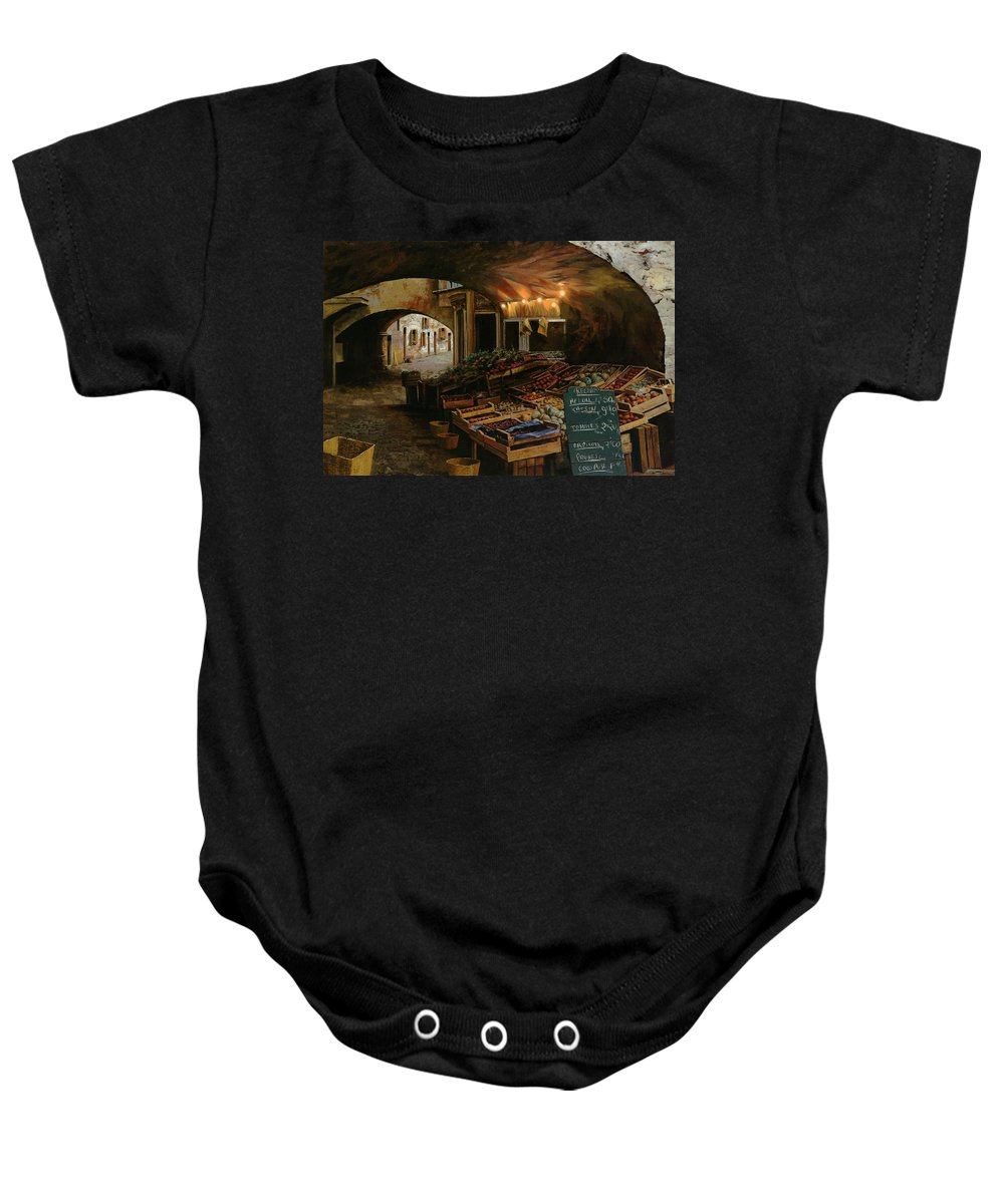 Market Baby Onesie featuring the painting Il Mercato Francese by Guido Borelli
