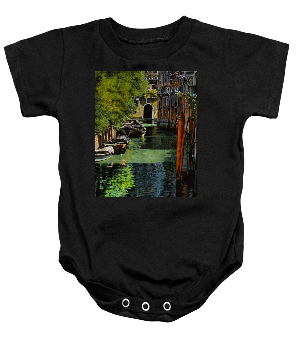 Venice Baby Onesie featuring the painting il palo rosso a Venezia by Guido Borelli