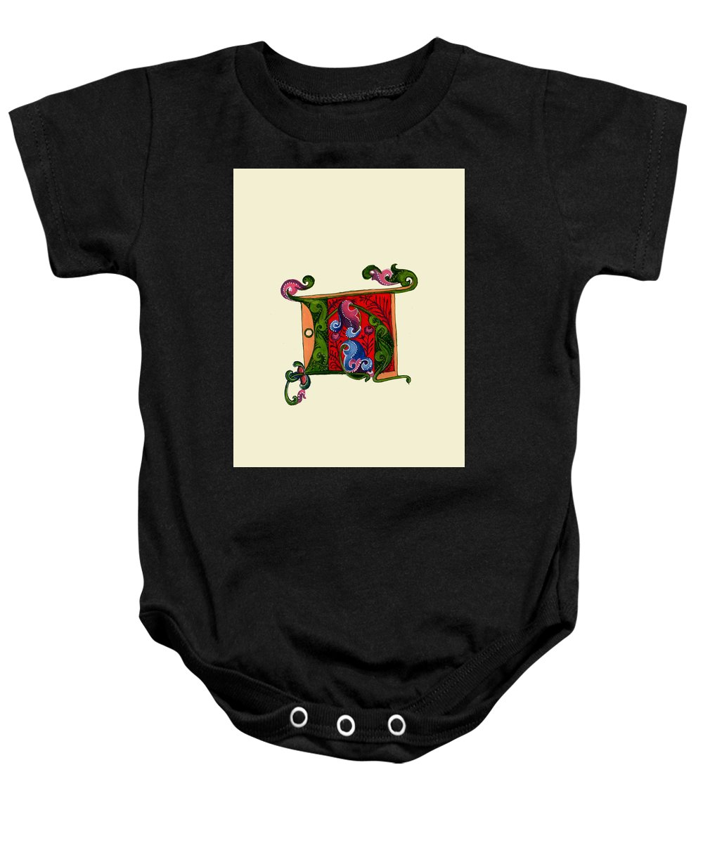 Baby Onesie featuring the painting Illumination H by Valerie Etienne