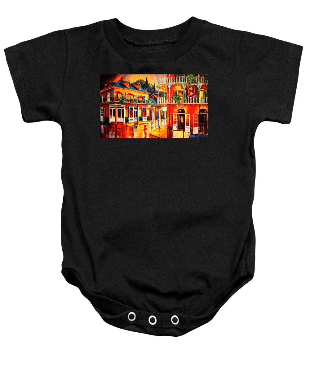 New Orleans Baby Onesie featuring the painting Images Of The French Quarter by Diane Millsap