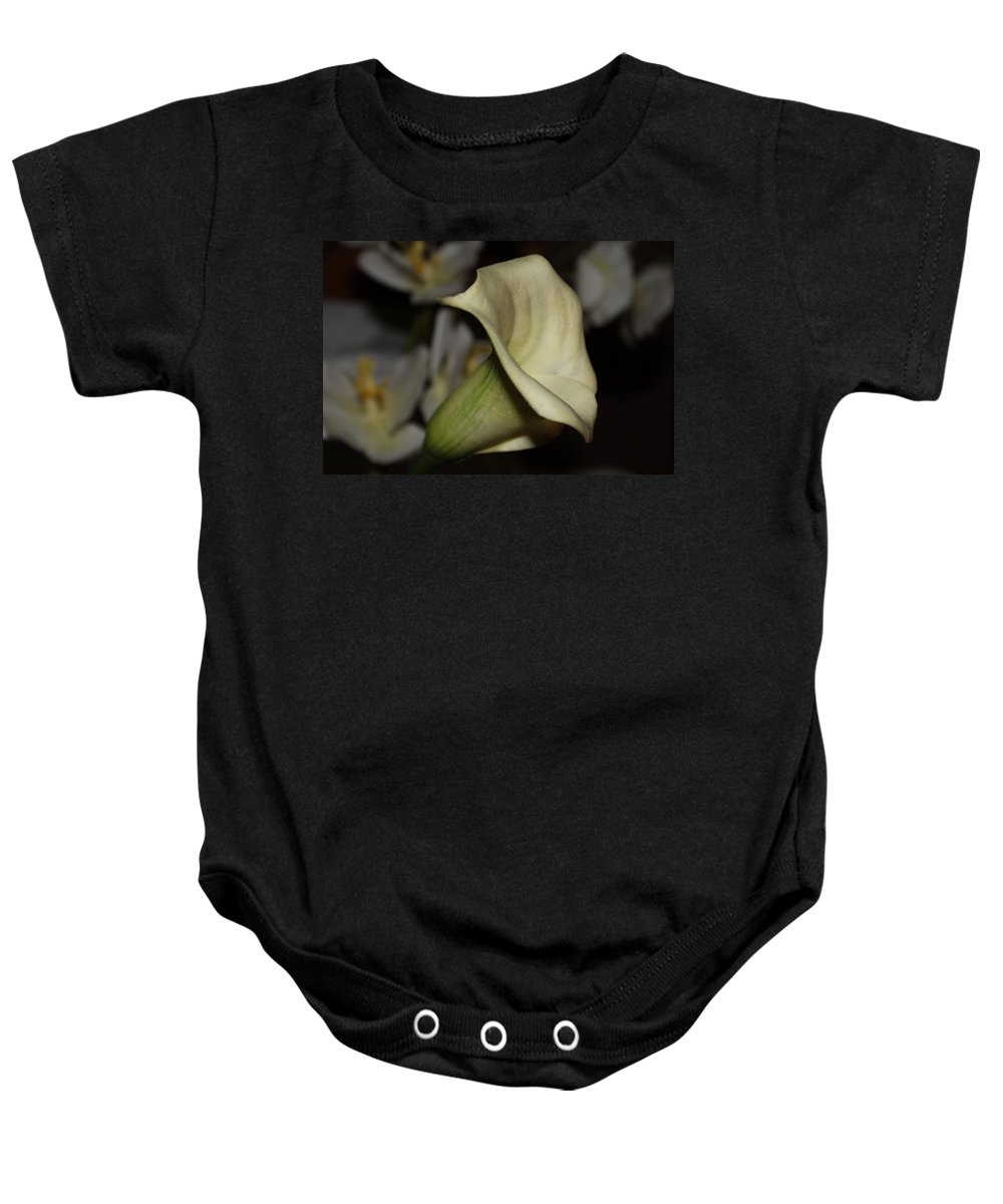 Lily Baby Onesie featuring the photograph Imitation Lily by Debbie Levene
