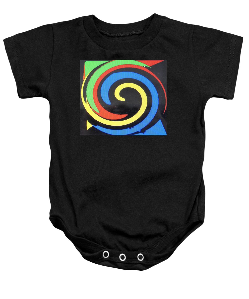 Red Baby Onesie featuring the digital art In Balance by Ian MacDonald