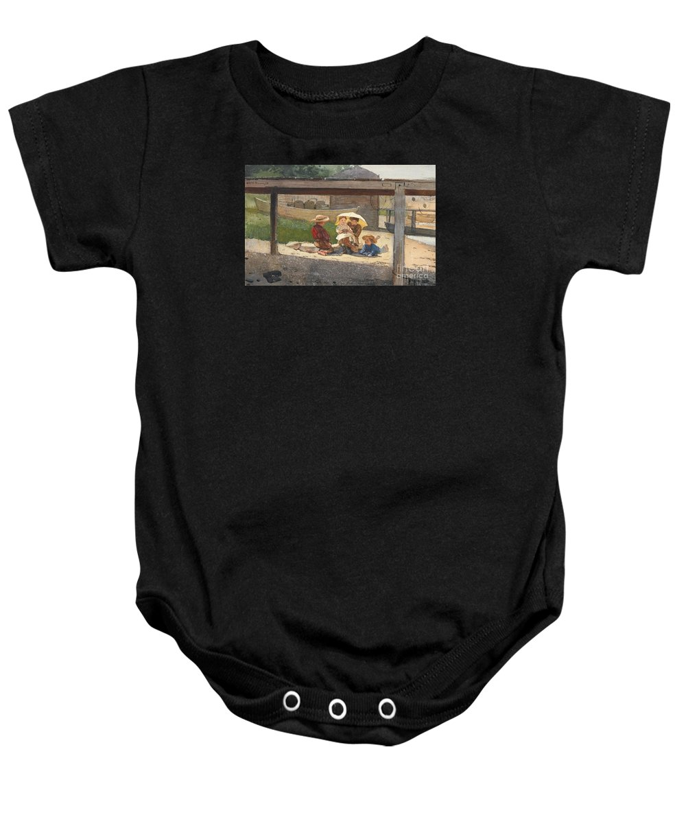 Winslow Homer 1836 - 1910 In Charge Of Baby.park Baby Onesie featuring the painting In Charge Of Baby by MotionAge Designs