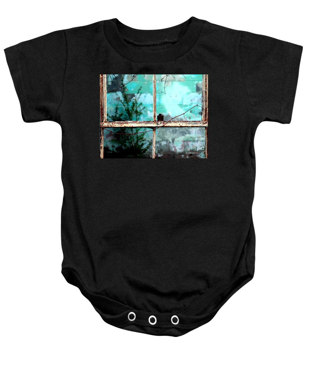 Windows Baby Onesie featuring the photograph In Or Out by Amanda Barcon