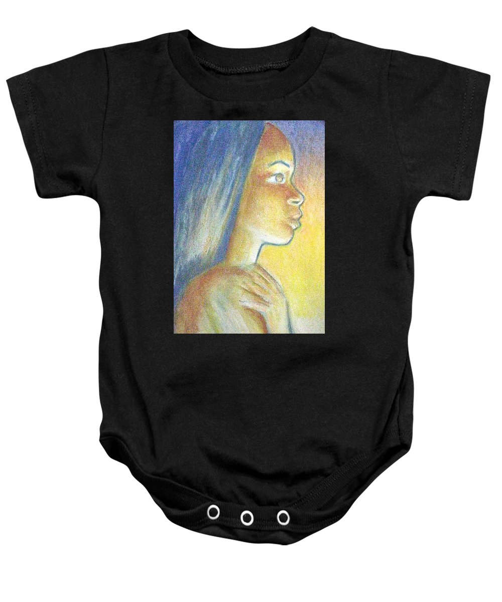Baby Onesie featuring the drawing In The Glow by Jan Gilmore