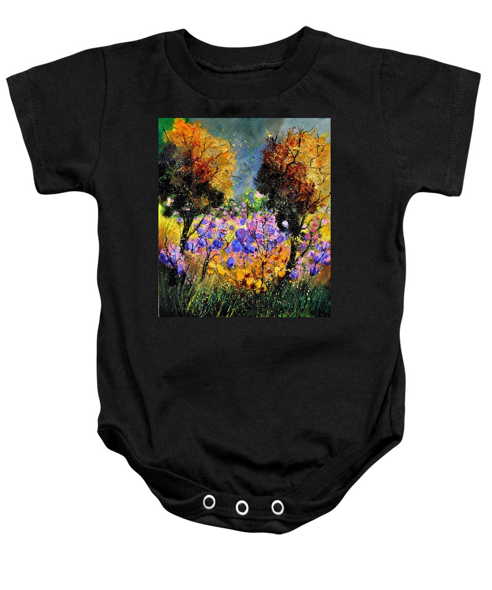 Wood Baby Onesie featuring the painting In The Wood by Pol Ledent