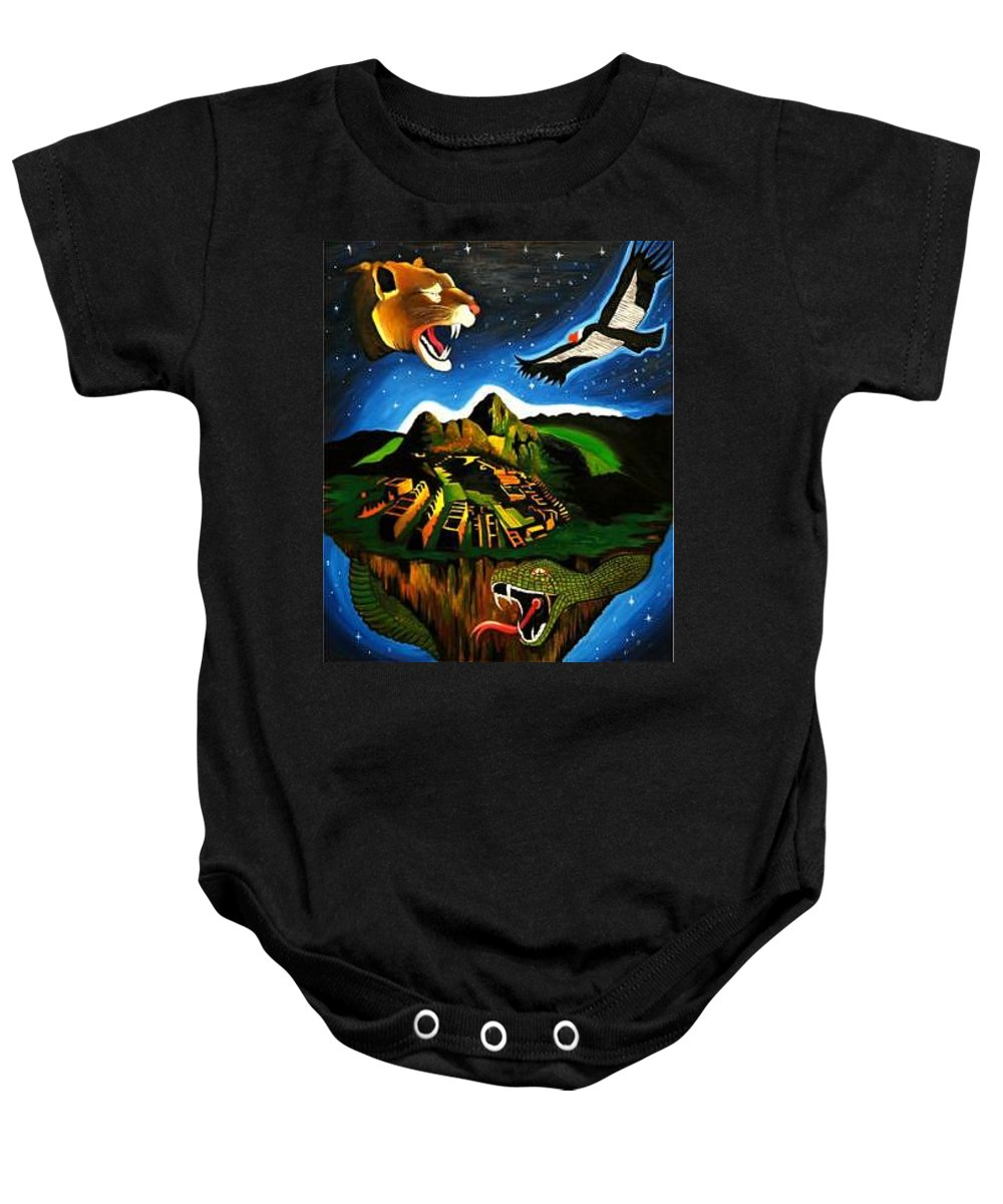 Machu Picchu Baby Onesie featuring the painting Inca's Trilogy II by Gustavo Oliveira