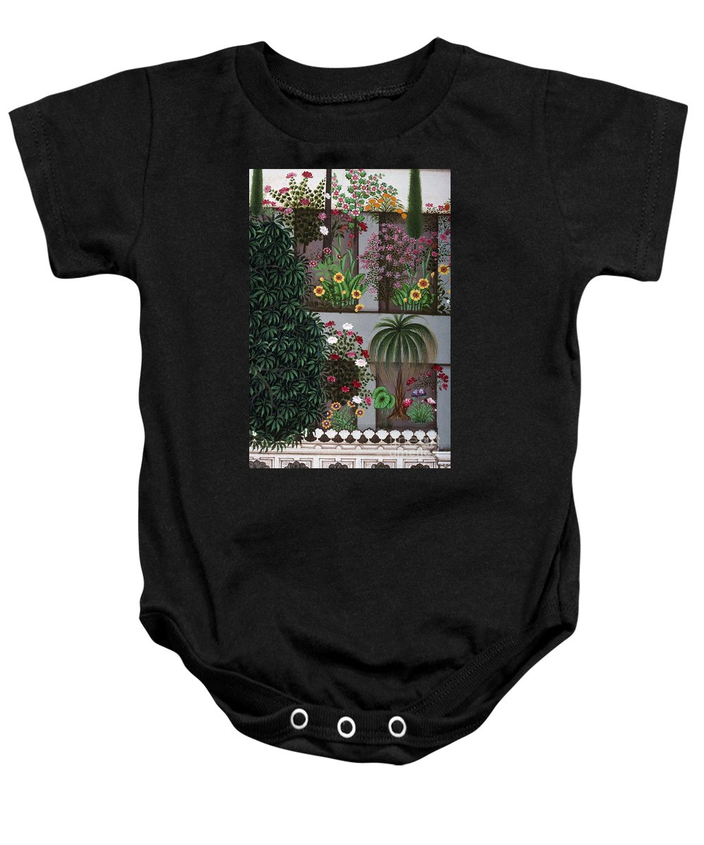 Aod Baby Onesie featuring the photograph India: Garden by Granger