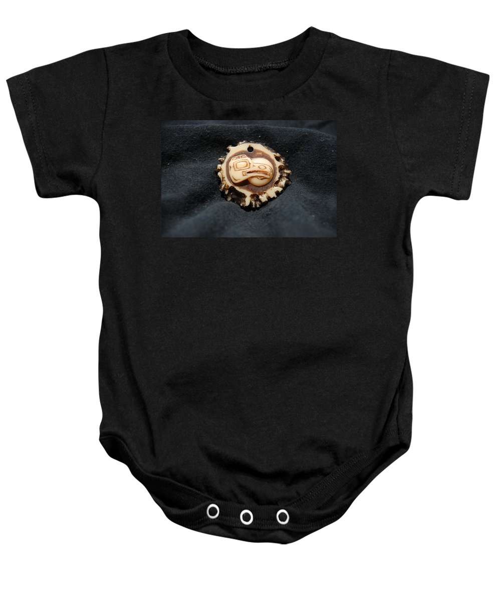 Indian Art Baby Onesie featuring the photograph Indian Eagle Head by Rob Hans