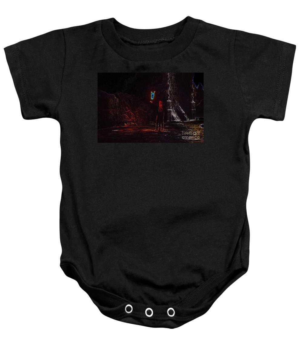 Art Baby Onesie featuring the painting Indiana Jones Five by David Lee Thompson