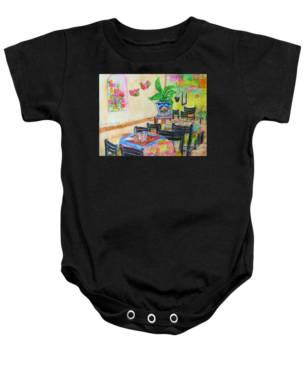 Watercolor Baby Onesie featuring the painting Indoor Cafe - Gifted by Judith Espinoza