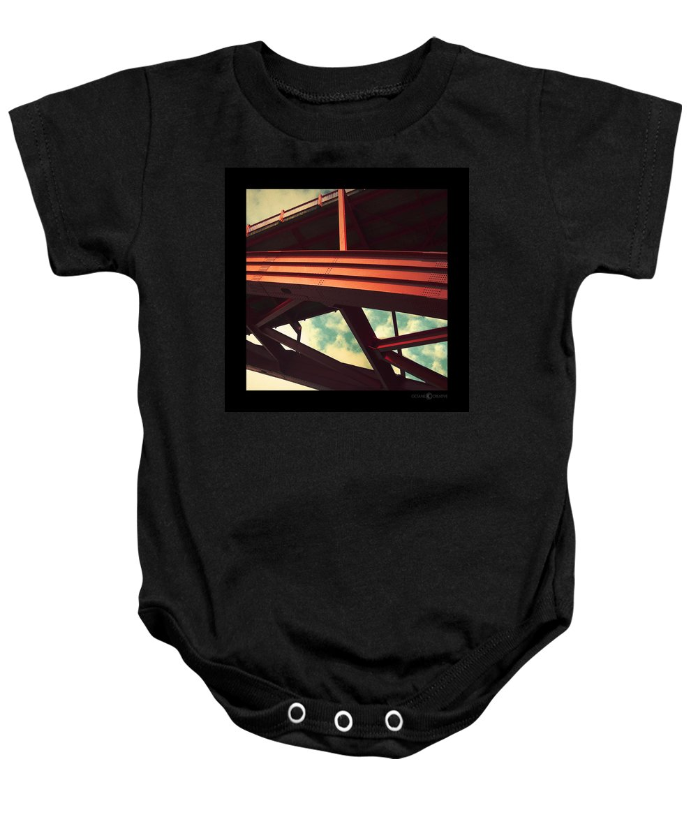 Bridge Baby Onesie featuring the photograph Infrastructure by Tim Nyberg