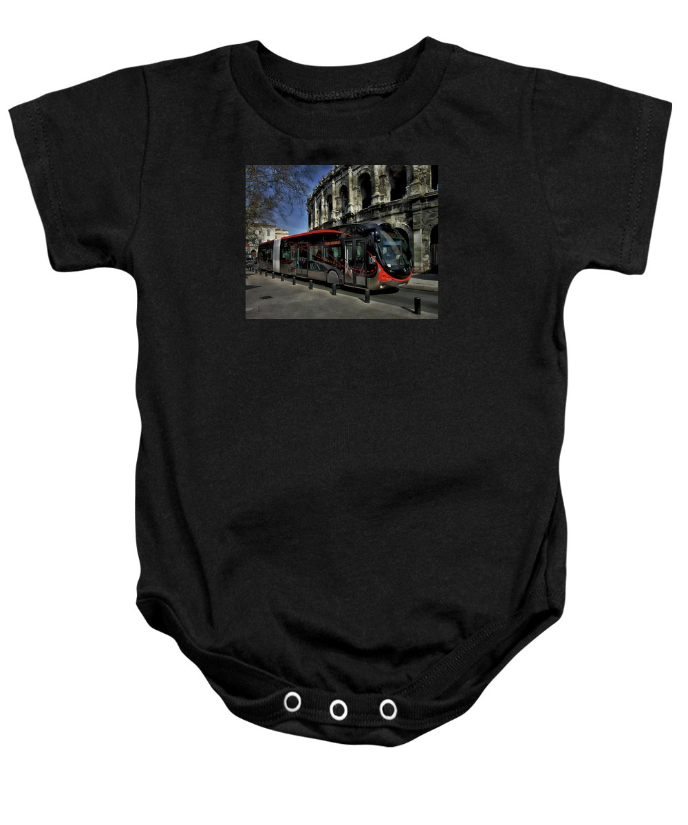 Nimes Baby Onesie featuring the photograph Inner City Tram by Anthony Dezenzio