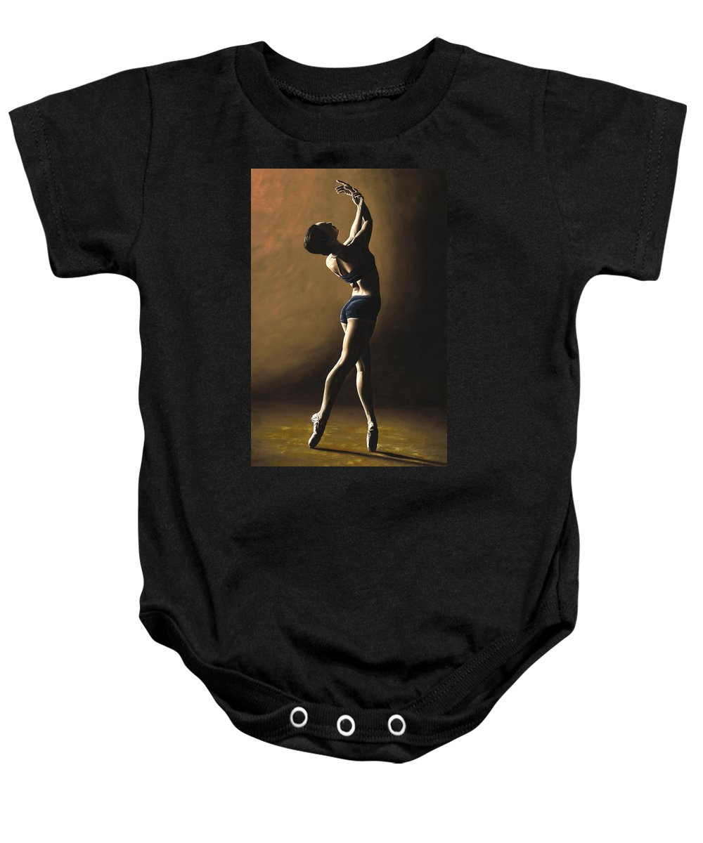 Dance Dancer Dancing Modern Female Woman Lady Girl Pointe Shadow Light Beauty Beautiful Young Art Baby Onesie featuring the painting Inner Sanctuary by Richard Young