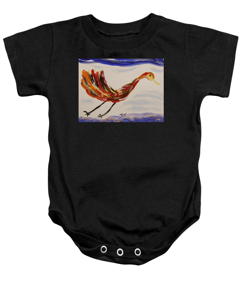Bird Baby Onesie featuring the painting Inspired By Calder's Only Only Bird by Mary Carol Williams