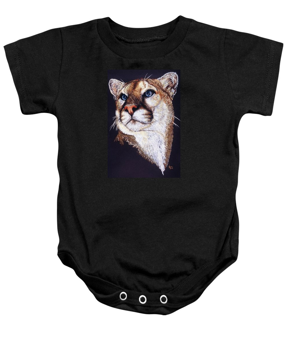 Cougar Baby Onesie featuring the drawing Intense by Barbara Keith