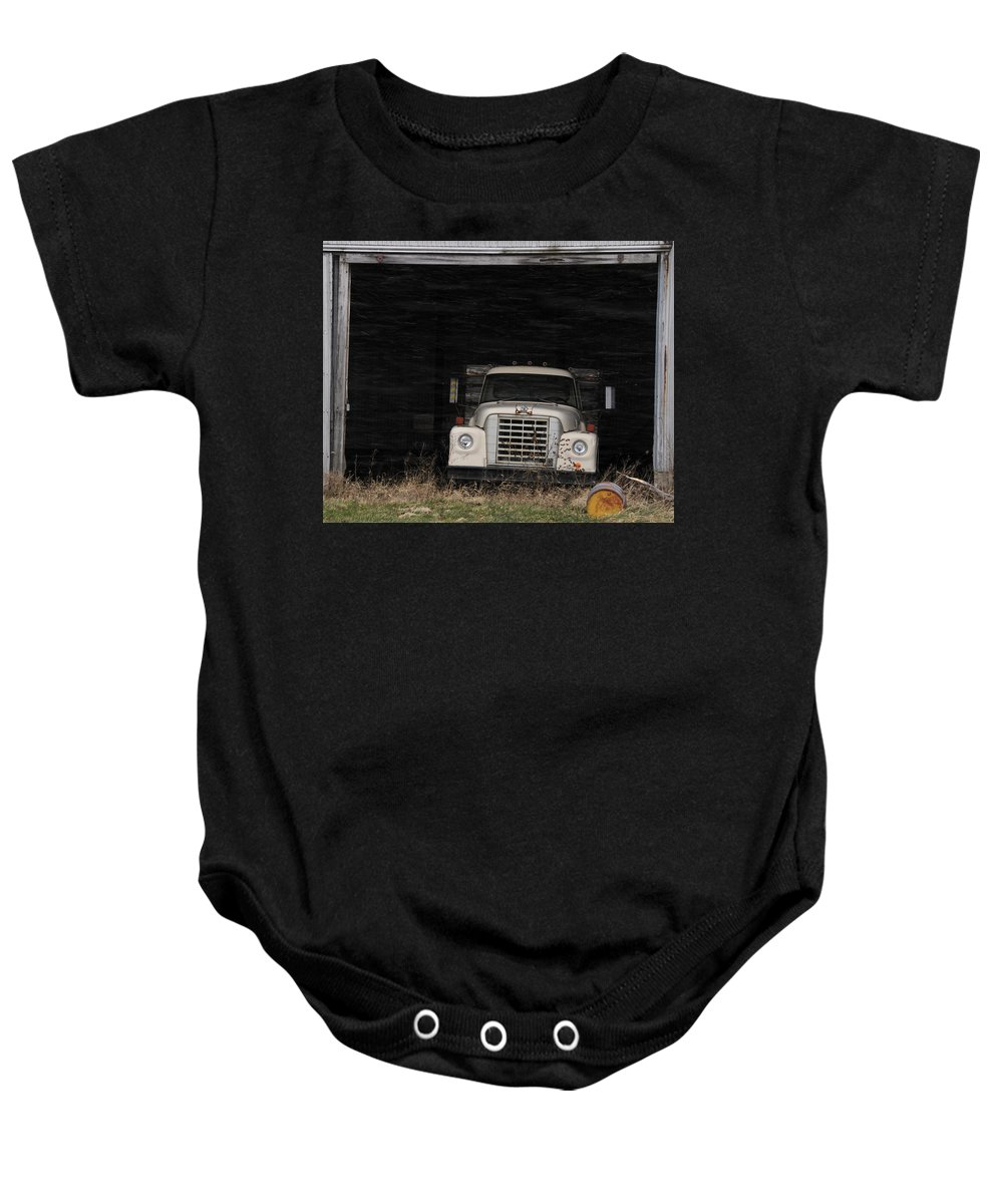 International Harvester Baby Onesie featuring the photograph International Truck by David Arment
