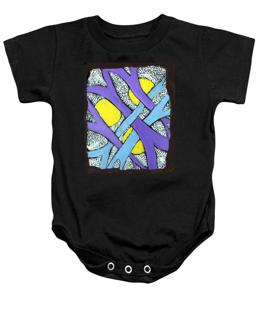 Abstract Baby Onesie featuring the painting Intertwined by Wayne Potrafka
