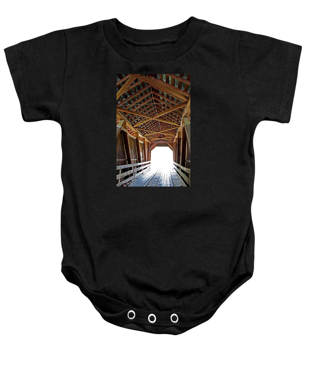 Light Baby Onesie featuring the photograph Into The Light by Margie Wildblood