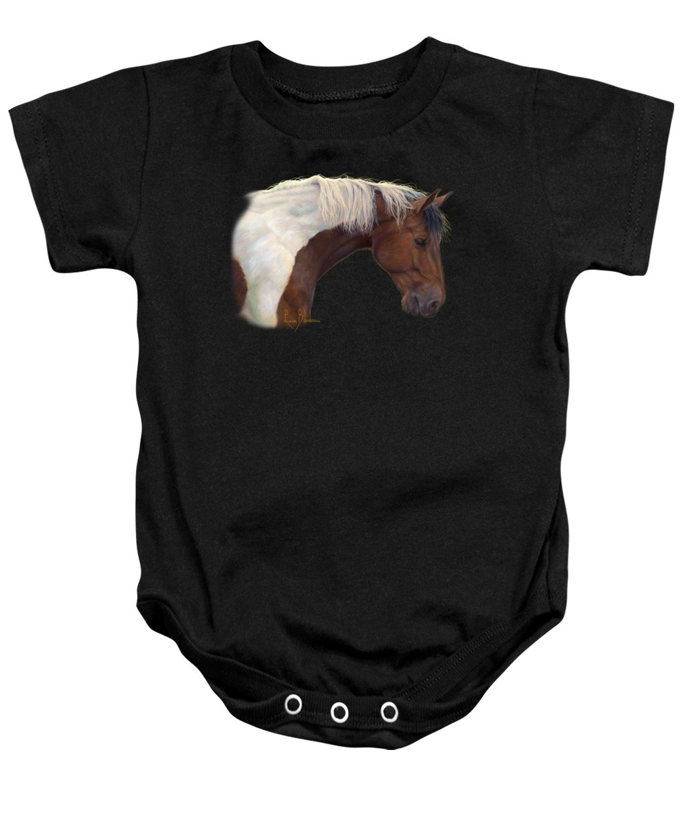 Horse Baby Onesie featuring the painting Intrigued by Lucie Bilodeau
