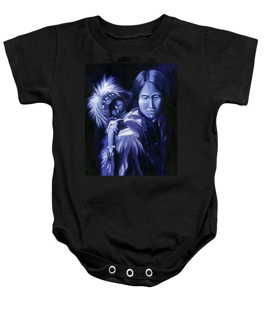 Native American Baby Onesie featuring the painting Inuit Mother And Child by Nancy Griswold