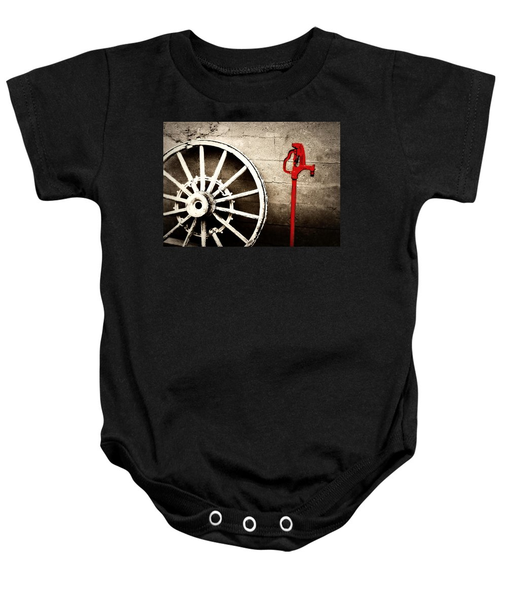Barn Baby Onesie featuring the photograph Iowa Hydrant by Julie Hamilton