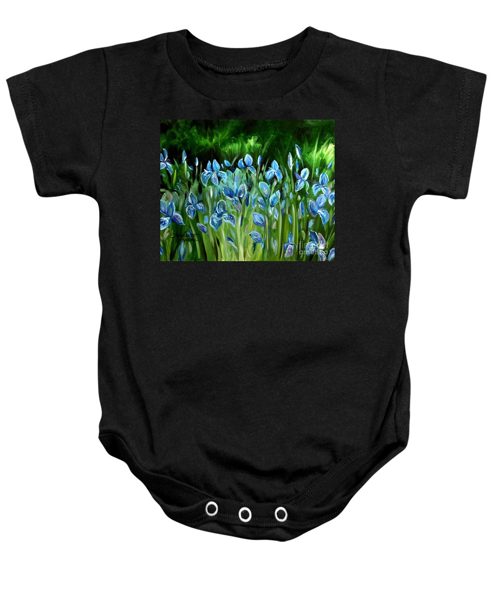 Flowers Baby Onesie featuring the painting Iris Galore by Elizabeth Robinette Tyndall