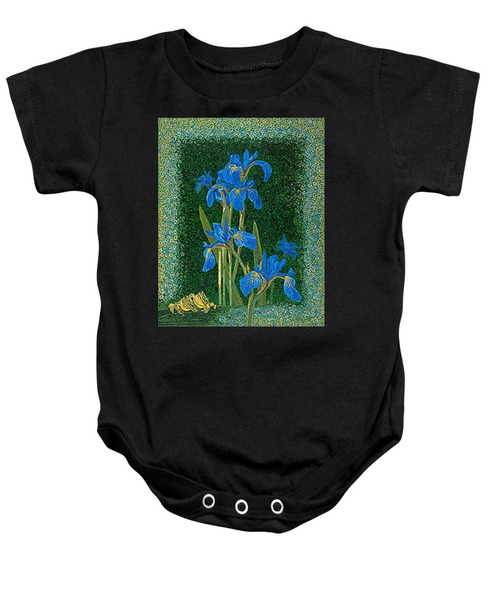 Irises Baby Onesie featuring the painting Irises Blue Flowers Lucky Love Frog Friends Fine Art Print Giclee High Quality Exceptional Colors by Baslee Troutman