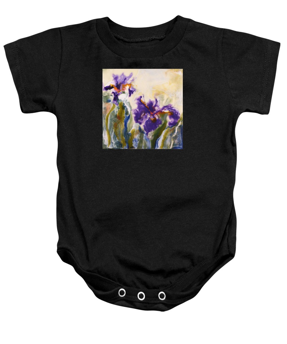 Iris Baby Onesie featuring the painting Irises by Donna Tuten