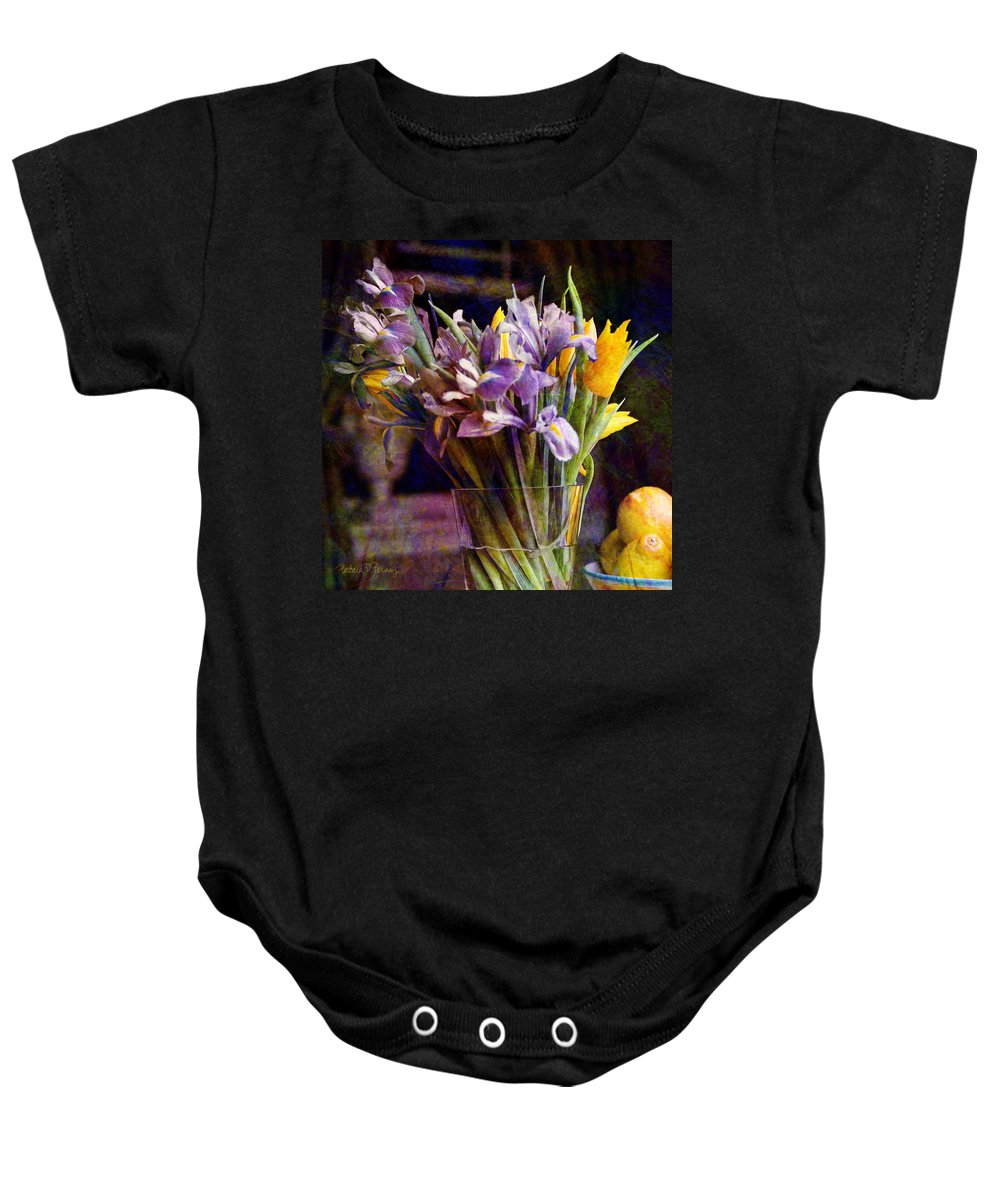Purple Baby Onesie featuring the digital art Irises In A Glass by Barbara Berney