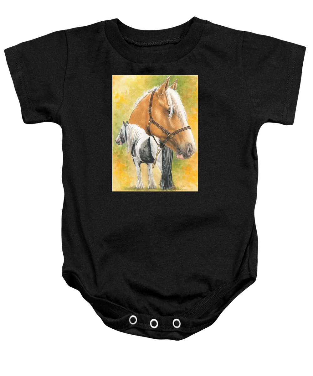 Draft Horse Baby Onesie featuring the mixed media Irish Cob by Barbara Keith