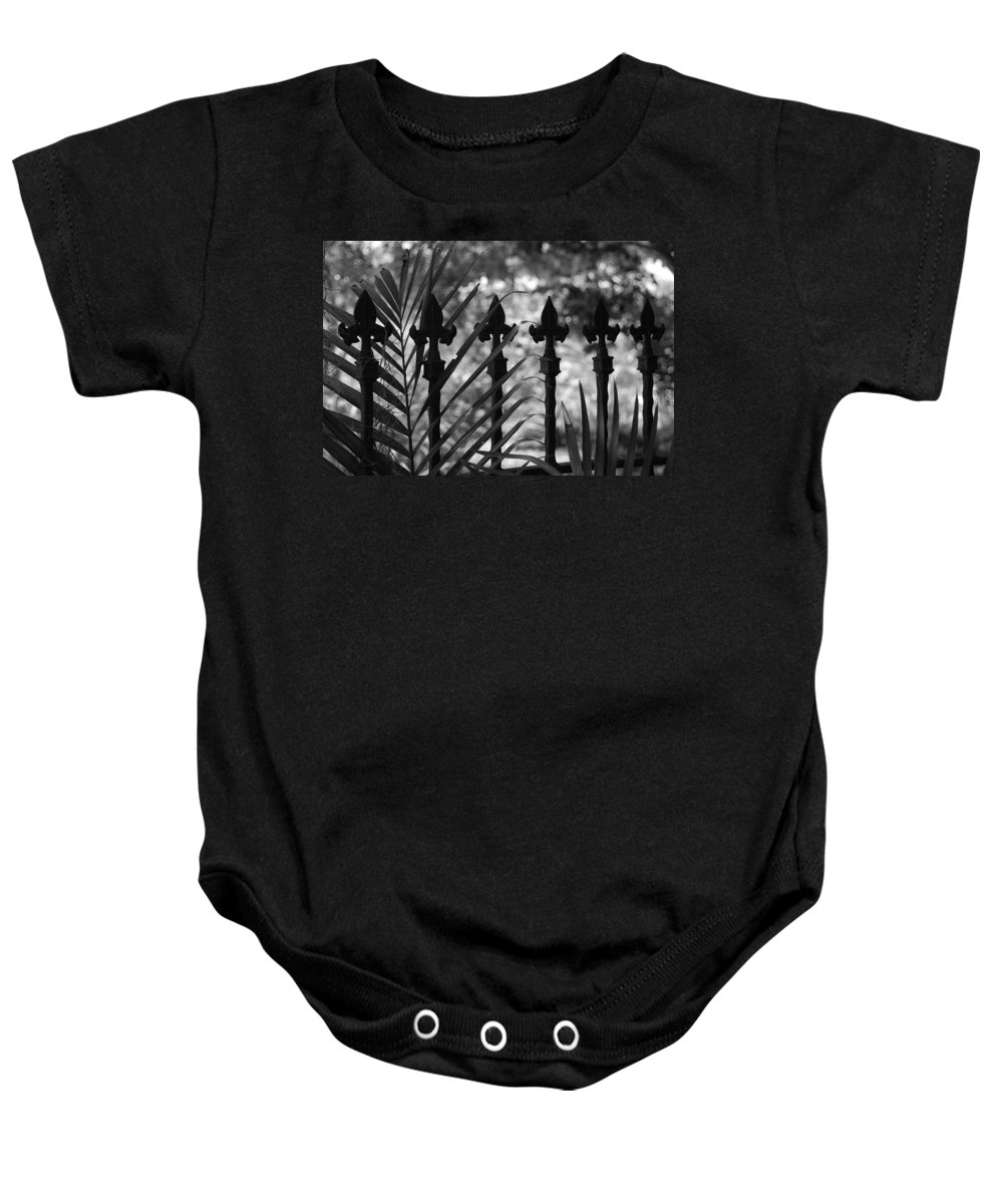 Wrought Iron Baby Onesie featuring the photograph Iron Fence by Rob Hans