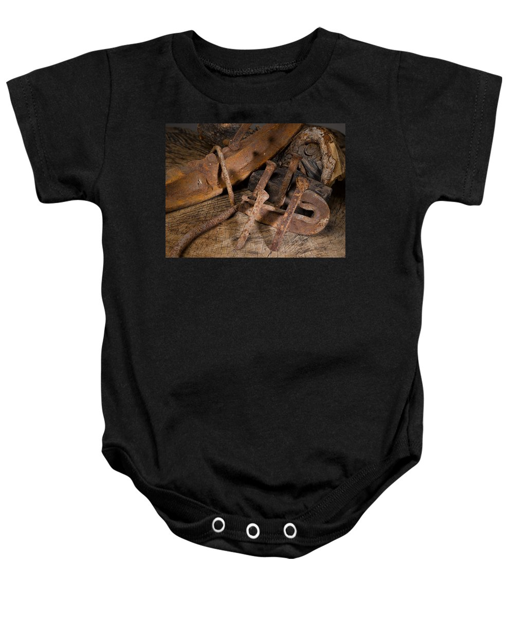 Railroad Baby Onesie featuring the photograph Iron Still Life by Angus Hooper Iii