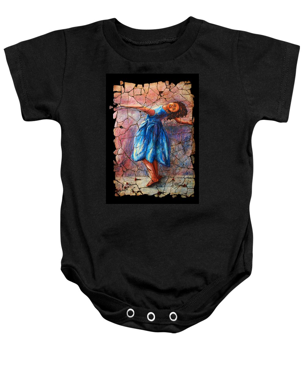 Isadora Duncan Baby Onesie featuring the painting Isadora Duncan - 1 by OLena Art Brand