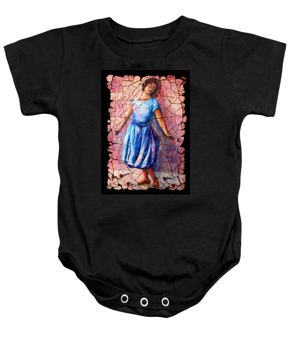 Isadora Duncan Baby Onesie featuring the painting Isadora Duncan - 2 by OLena Art Brand