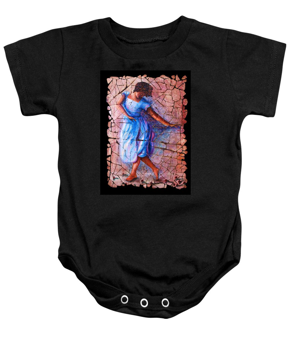 Isadora Duncan Baby Onesie featuring the painting Isadora Duncan - 3 by OLena Art Brand
