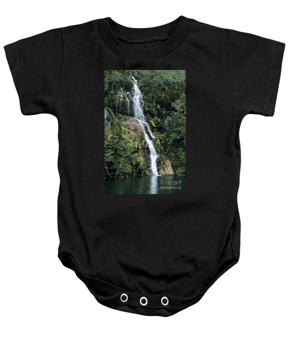 Beagle Channel Baby Onesie featuring the photograph Isla Hoste Waterfall by Larry Dale Gordon - Printscapes