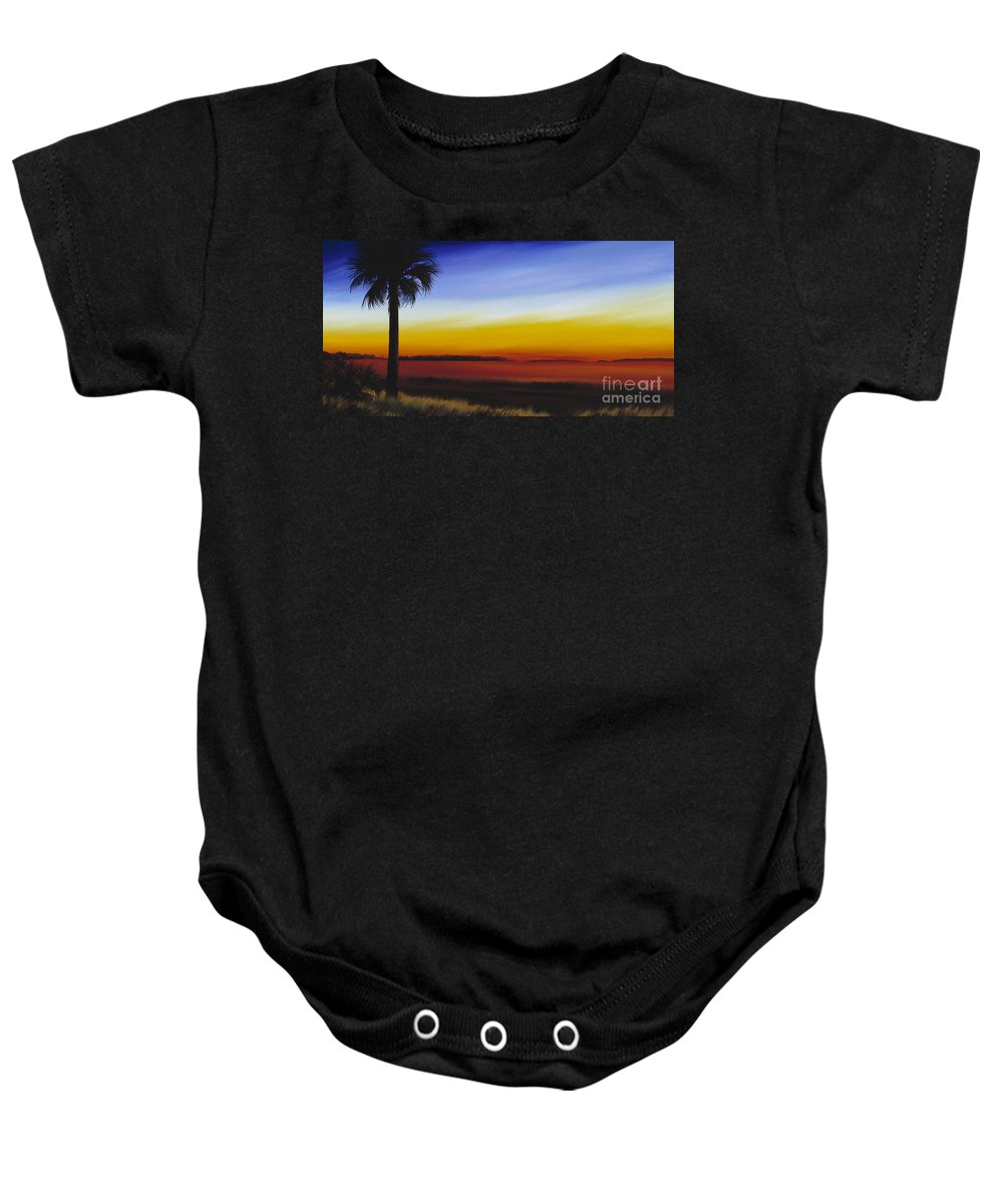 Palmetto Tree Baby Onesie featuring the painting Island River Palmetto by James Christopher Hill