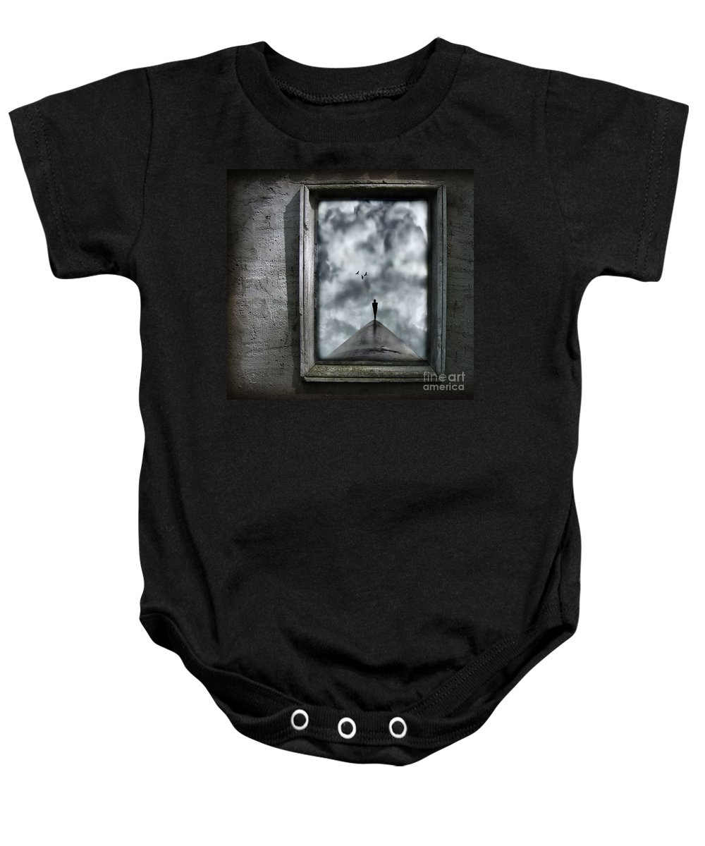 Dark Baby Onesie featuring the painting Isolation by Jacky Gerritsen