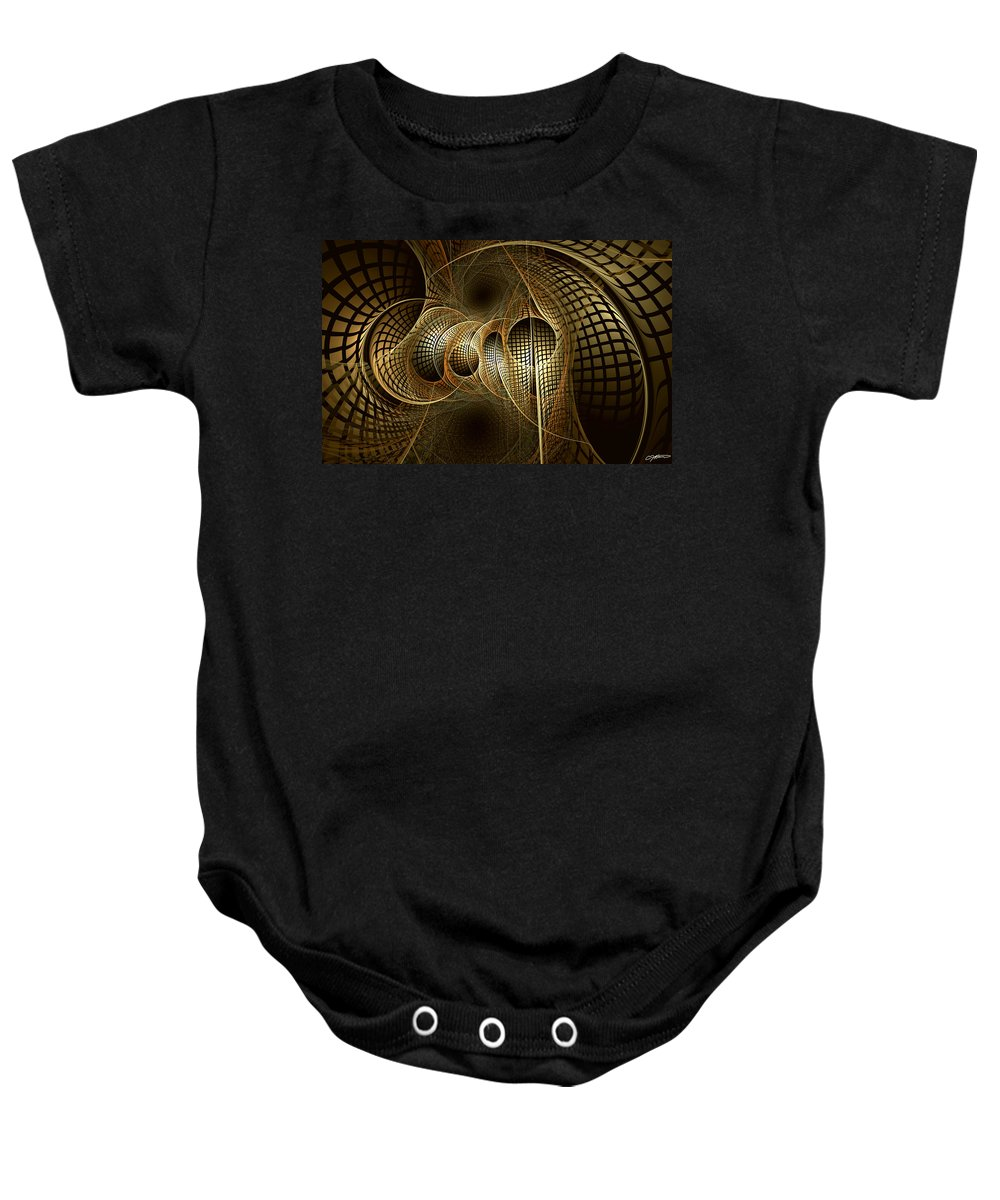 Abstract Baby Onesie featuring the digital art Issuance Of The Metropole by Casey Kotas