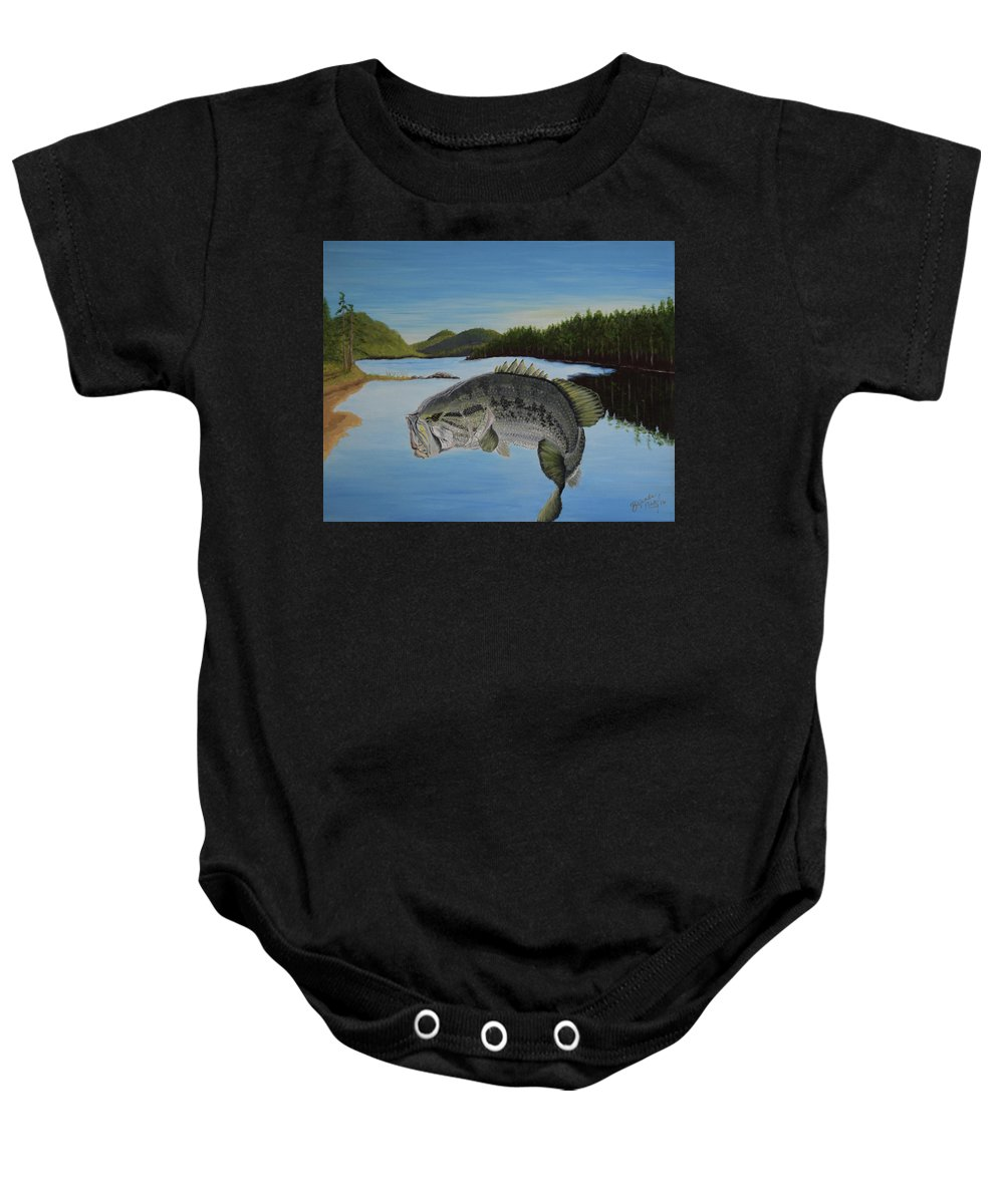 Bass Baby Onesie featuring the painting It's All About The Bass by Belinda Nagy