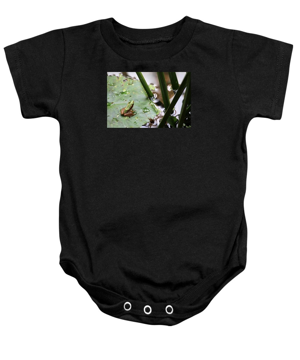 Tadpole Baby Onesie featuring the photograph It's Not Easy Being Green by John Cumbow